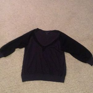 Navy sweater with black chiffon detail